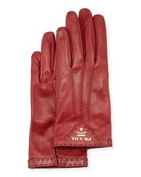Prada Napa Leather Gloves Ruby Red