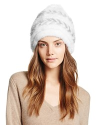Maximilian Furs Fox Fur Pompom Knit Mink Fur Hat Bloomingdale's Exclusive White Gray