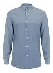 Topman Blue Washed Dobby Long Sleeve Casual Shirt