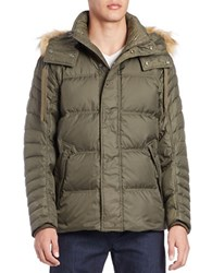 Andrew Marc New York Faux Fur Trimmed Puffer Coat Olive