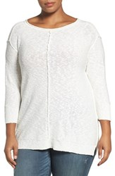 Vince Camuto Plus Size Women's Two By Exposed Seam Cotton Blend Sweater