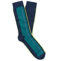 Paul Smith Striped Cotton Blend Socks Navy