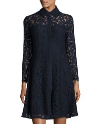 Nanette Nanette Lepore Lace Long Sleeve Shirtdress Dark Navy