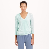 J.Crew Pre Order Speckled Cotton Long Sleeve V Neck Tee