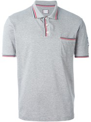 Moncler Gamme Bleu Striped Trim Polo Shirt Grey