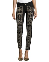 7 For All Mankind Gold Studded Skinny Jeans Black