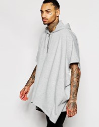 Asos Longline Hooded Cape In Grey Grey