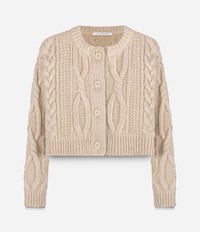 Christopher Kane Aran Cropped Cardigan Nude And Neutrals