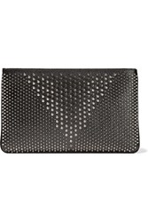 Christian Louboutin Loubiposh Spiked Textured Leather Clutch Black