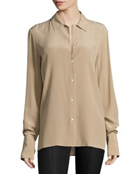 The Row Nolta Washed Crepe De Chine Long Sleeve Blouse Heather Stone