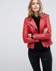 Mango Real Leather Biker Jacket Red