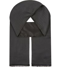 The Kooples Patterned Silk Scarf Black Grey
