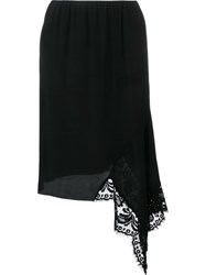 N 21 No21 Asymmetric Lace Hem Skirt Black