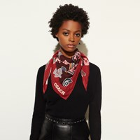 Coach Embellished Varsity Patch Oversized Square Scarf Red