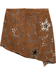 Anthony Vaccarello Asymmetric Eyelet Skirt Brown