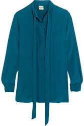 Tod's Pleated Silk Crepe De Chine Shirt Teal
