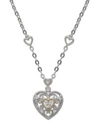 Macy's Diamond Antique Heart Pendant Necklace In Sterling Silver And 14K Gold 1 10 Ct. T.W.