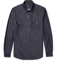 Berluti Washed Silk And Denim Shirt Blue