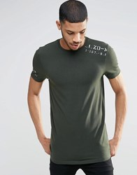 Asos Longline Muscle T Shirt With Military Stamp Shoulder Print Army Green