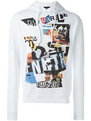 Dsquared2 Newspaper Collage Hoodie White