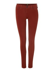 Lee Scarlett Mid Rise Skinny Jean In Brick Red