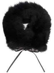 Woolrich Fox Fur Ring Scarf Black