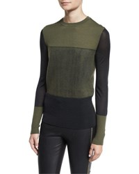 Rag And Bone Marissa Colorblock Crewneck Wool Top Army