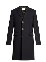 Saint Laurent Single Breasted Wool And Silk Blend Twill Coat Navy