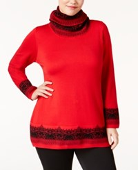 Ny Collection Plus Size Jacquard Scarf Sweater Red