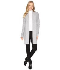 Michael Michael Kors Long Waffle Cardigan Pearl Heather Women's Sweater Gray
