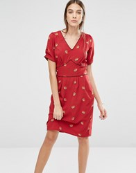 Trollied Dolly Dip And Dazzle Strawberry Print Dress Purple