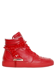 D S De Spikes Patent And Nappa High Top Sneakers Red
