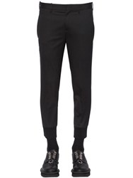 Neil Barrett Rib Cuffs Stretch Wool Gabardine Pants