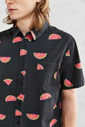 Globe Watermelon Print Short Sleeve Button Down Shirt Washed Black