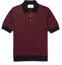Gucci Slim Fit Striped Cotton And Cashmere Blend Polo Shirt Blue