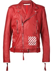 Off White Tassel Detail Biker Jacket Red