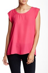 Pleione Cap Sleeve Pleat Back Blouse Pink