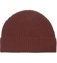 Gieves And Hawkes Ribbed Cashmere Beanie Burgundy