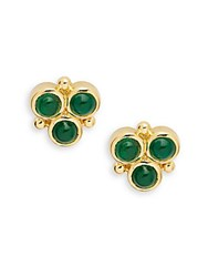 Temple St. Clair Emerald And 18K Yellow Gold Post Back Earrings