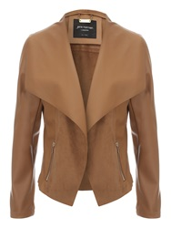 Jane Norman Black Pu Waterfall Jacket Tan
