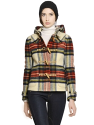 Polo Ralph Lauren Tartan Wool Duffle Coat Red
