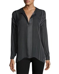 Vince Silk Stripe Print Blouse Black White