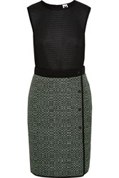 M Missoni Honeycomb Mesh Tech Jersey Stretch Knit And Tweed Dress Black