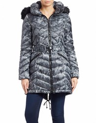 Laundry By Shelli Segal Faux Fur Trimmed Puffer Coat Grey White