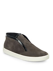 Vince Patton Patent Leather Trimmed Suede Chukka Boots Graphite