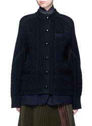 Sacai Mix Knit Felted Wool Blend Layered Coat Blue