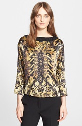 Etro Embellished Neck Marble Print Silk Blouse Gold Black