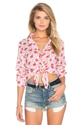 Cp Shades Romy Button Up Top Red