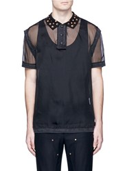 Givenchy Studded Collar Silk Organza Polo Shirt Black