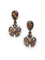 M.C.L By Matthew Campbell Laurenza Multicolor Sapphire And Citrine Star Drop Earrings Silver Multi